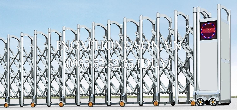 Cửa cổng xếp inox tự động 05