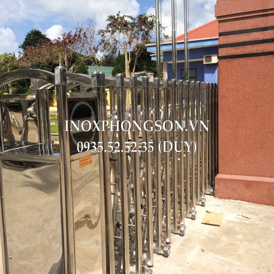 Cổng Xếp Inox Tự động cho Điện lực Đông Hà, Quảng Trị