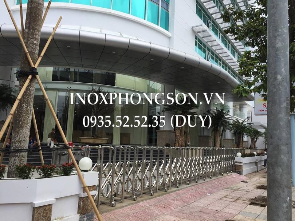 Cửa Cổng Xếp Inox ở Nha Trang cho Công ty CP Điện Lực Khánh Hòa