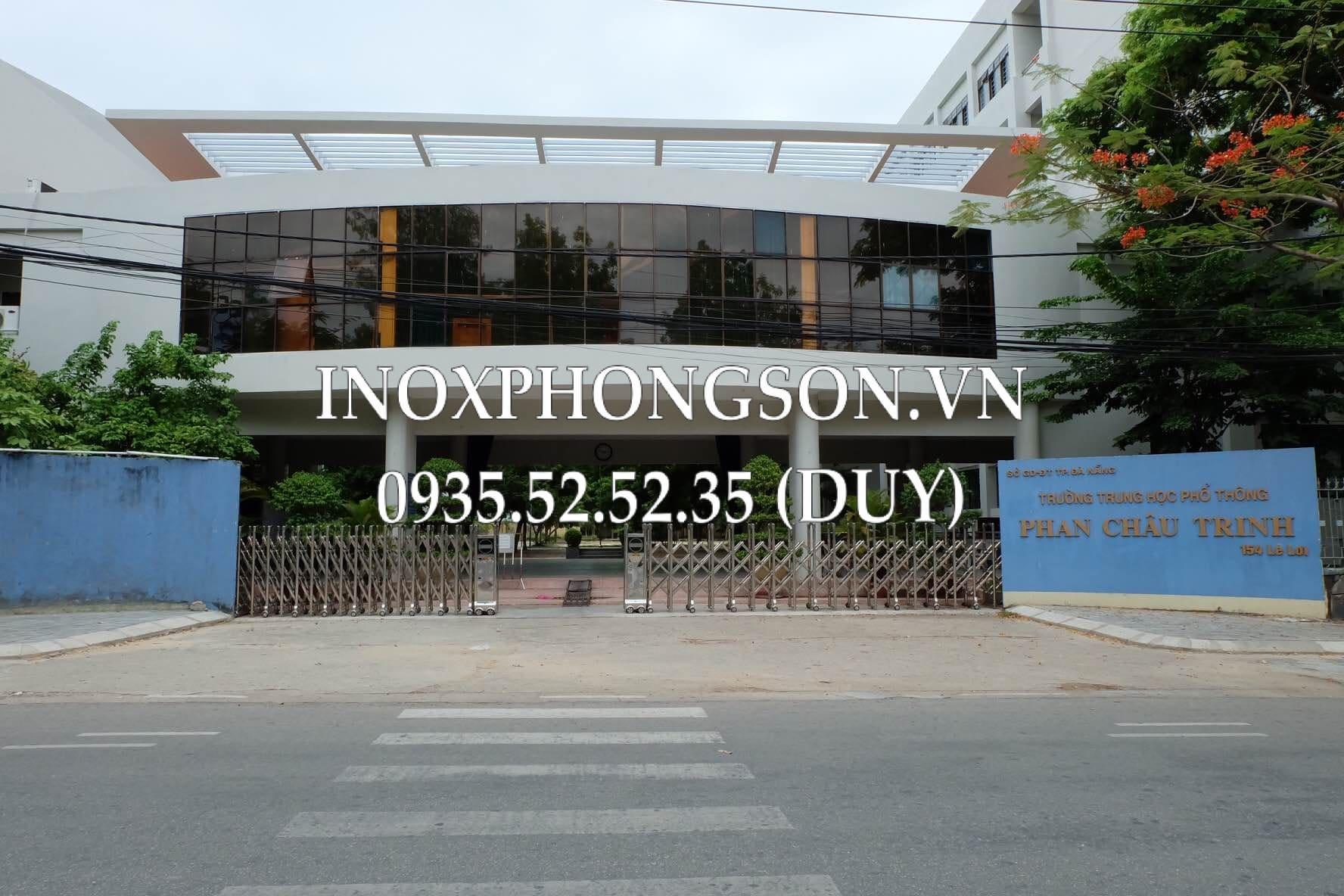 Cổng Xếp Inox 304 tại Trường THPT Phan Châu Trinh - Đà Nẵng