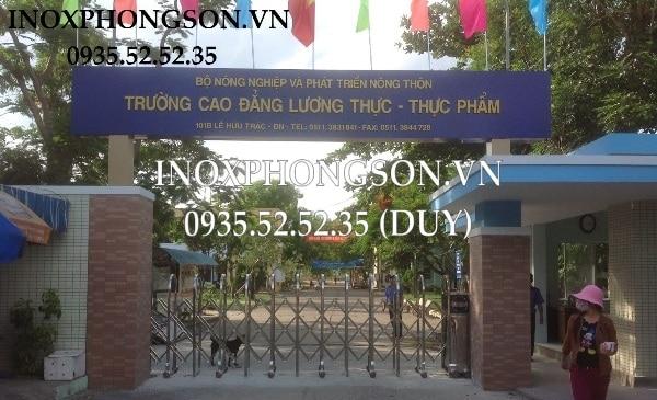 Cửa Cổng Xếp Inox tại Trường Cao đẳng Lương thực Thực Phẩm Đà Nẵng